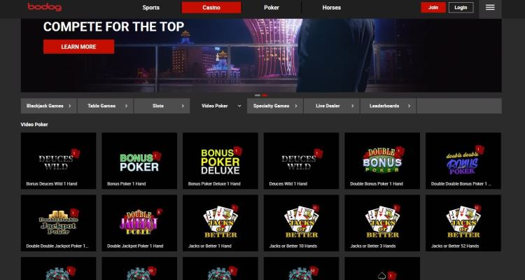 Bodog Video Poker Casino